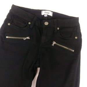 PAIGE Jeans - Paige Indigo Zip Moto Skinny Jeans Black Over-Dye